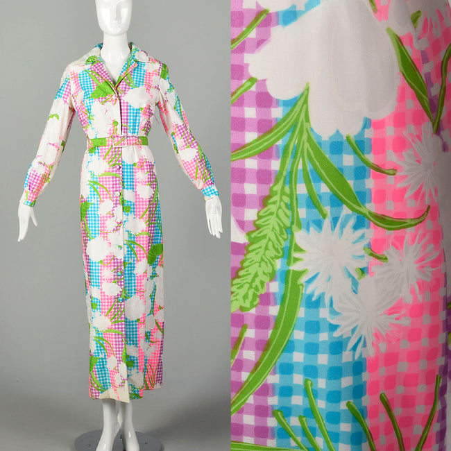 Large 1970s Colorful Maxi Dress White Floral Bright Belt Long Sleeve