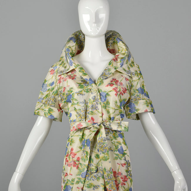 1950s Floral Silk Dressing Gown