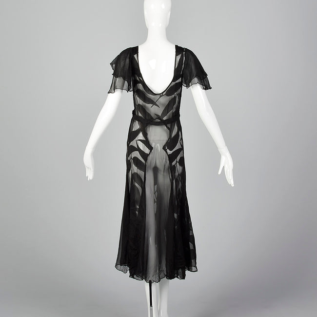 1930s Sheer Black Silk Dress with Abstract Leaf Design
