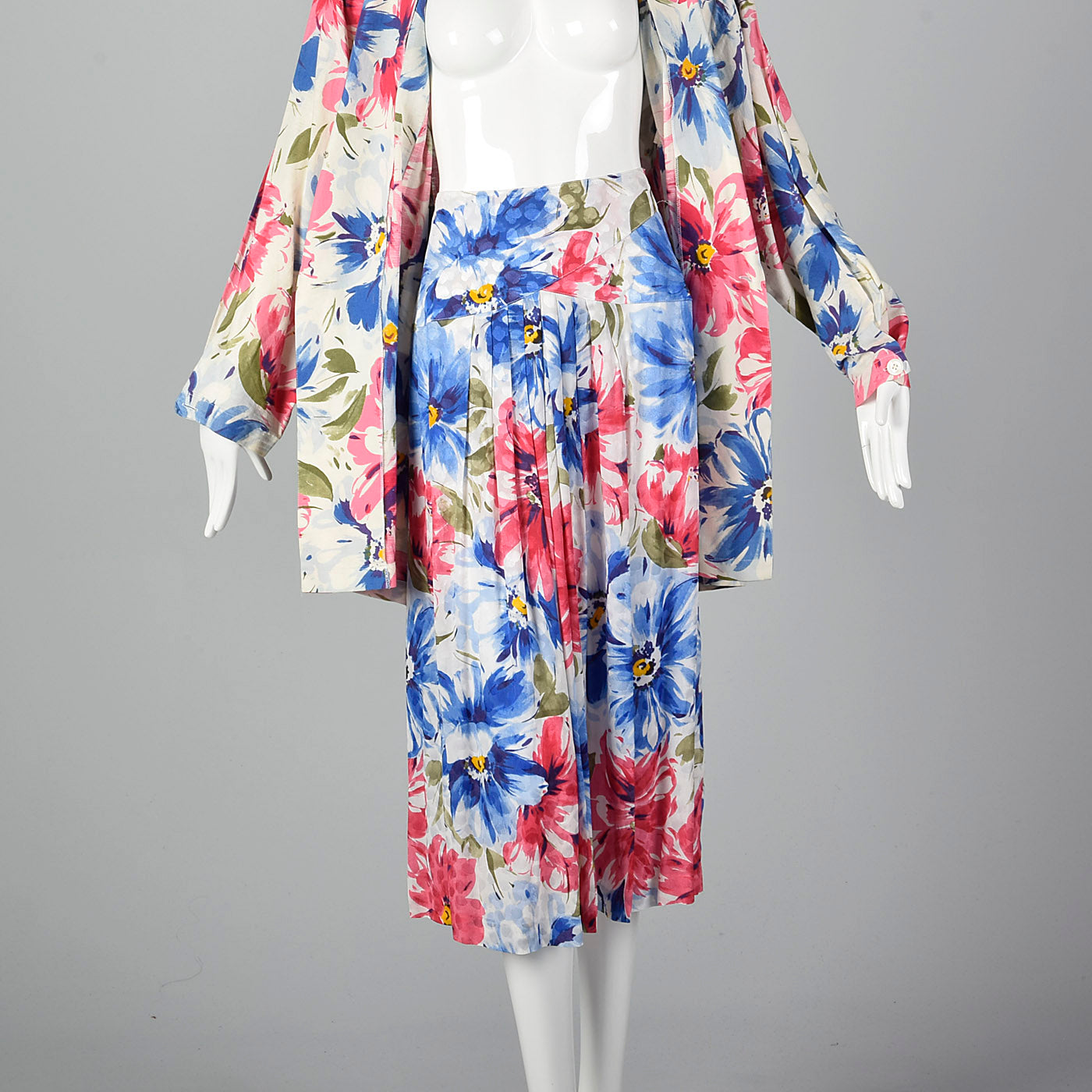 1980s Floral Print Skirt Suit with Oversized Blazer