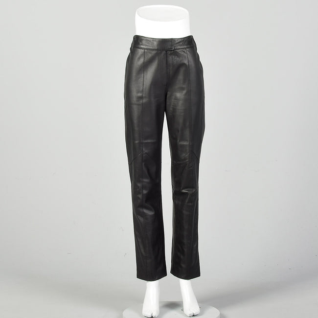 Small Black Leather Pants