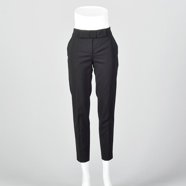 2000s Low Rise Black Pants with Bow Waist