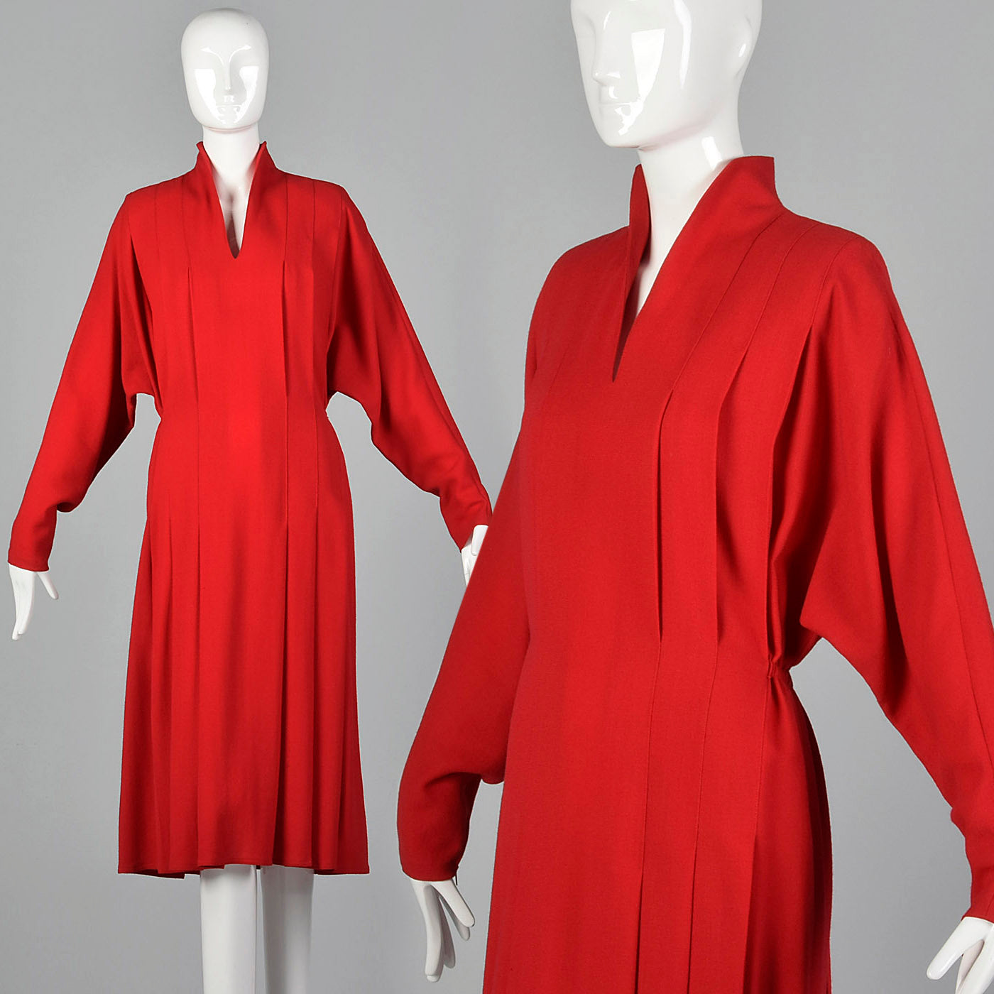 1980s Chloe Red Wool Dress with Elastic Waist