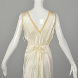 Small 1930s Bridal Nightgown Satin Lingerie Lace Tie Back Waist