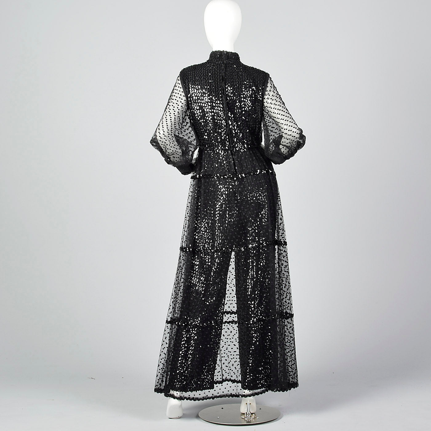 1970s Oscar de la Renta Sequined Jumpsuit with Low V Neckline & Sheer Mesh Overskirt