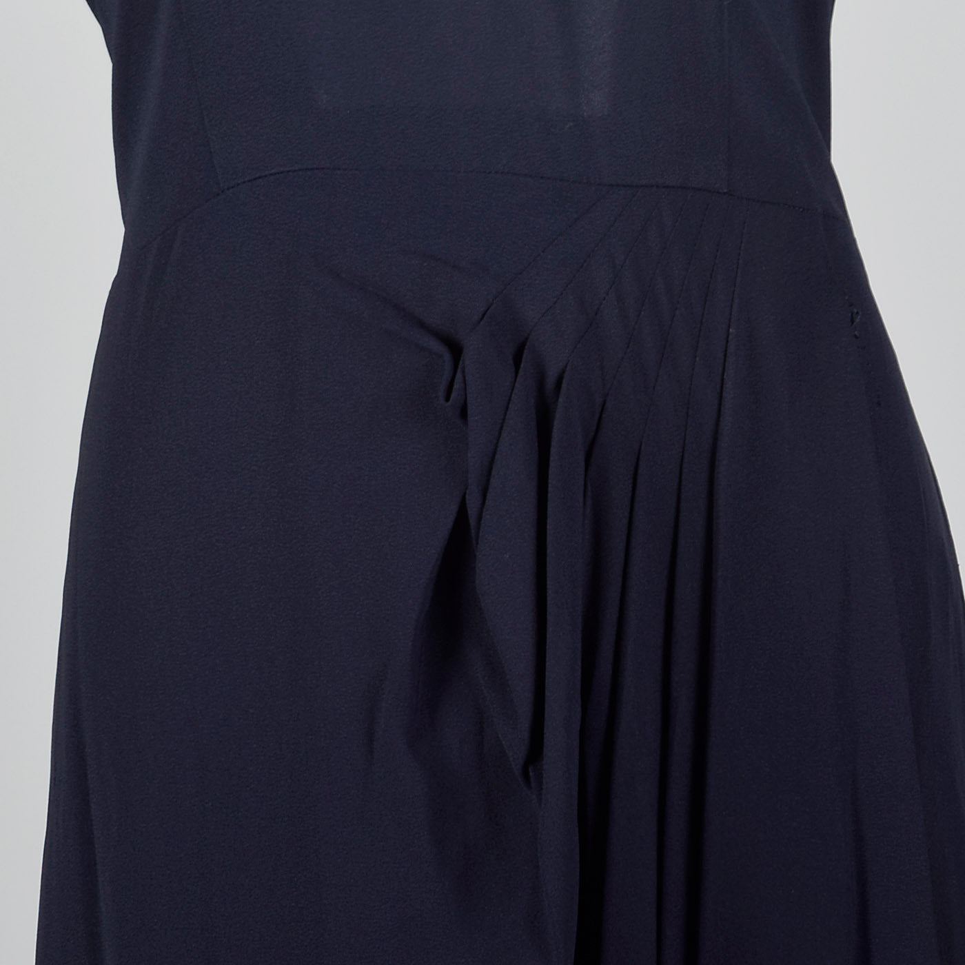 1950s Blue Rayon Dress with Lace Illusion Neckline