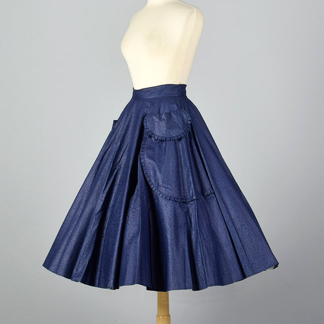 1950s Blue Circle Skirt with Patch Pockets