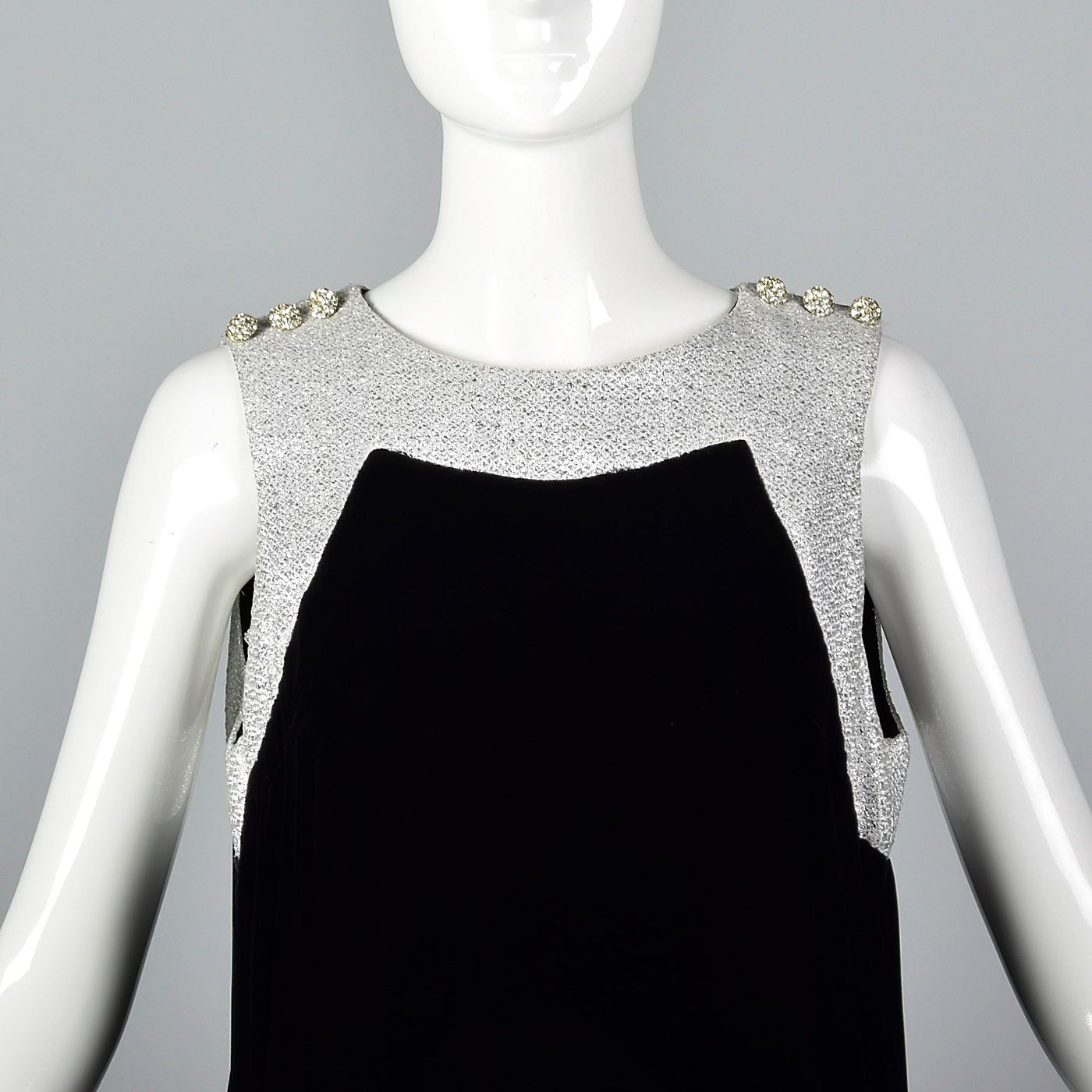 1960s Marshall Field & Co. Black Velvet Dress with Silver Trim