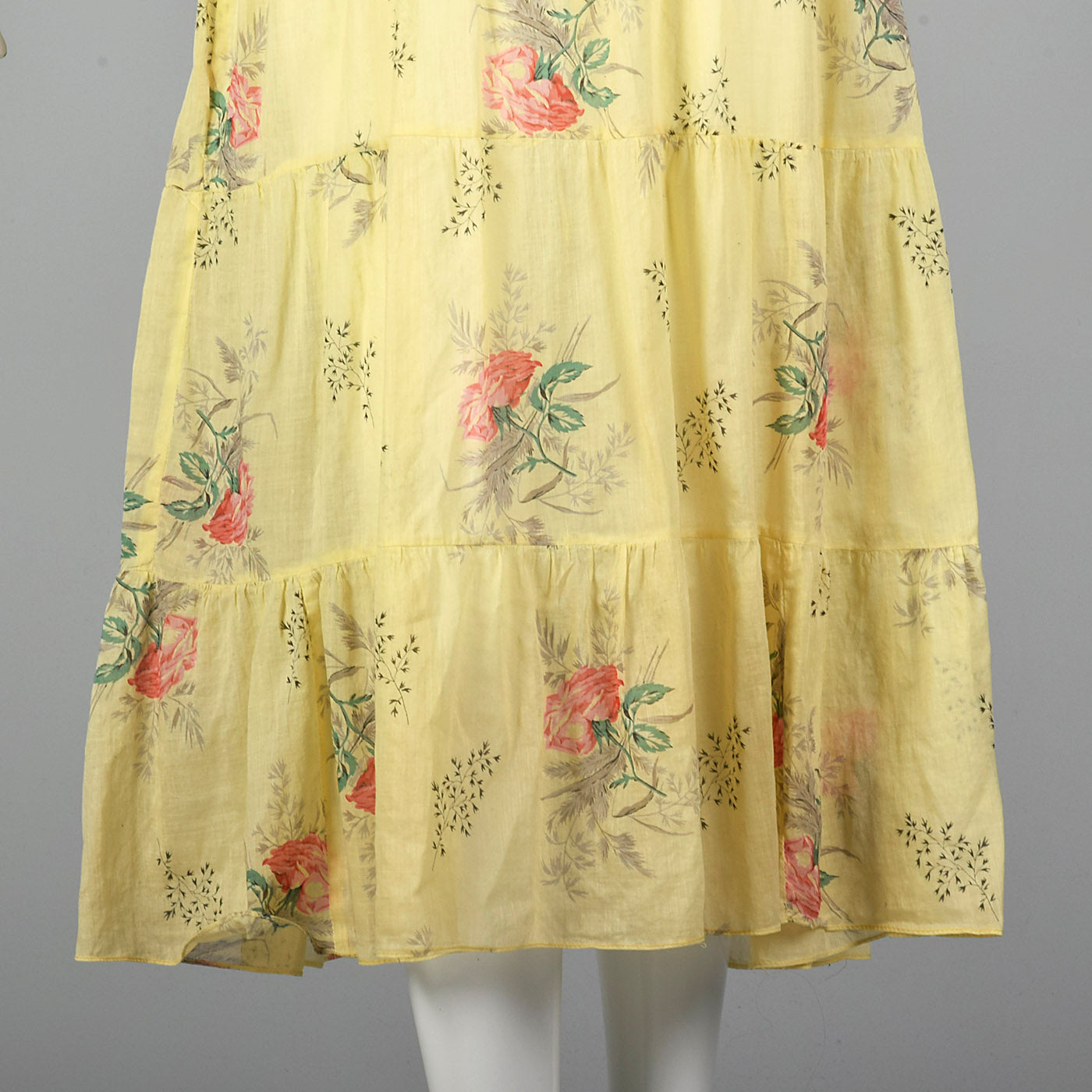 1930s Sheer Yellow Day Dress