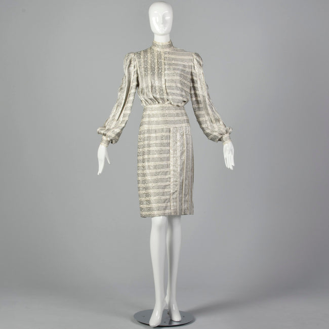 Small Galanos 1970s Striped Geometric Silk Dress
