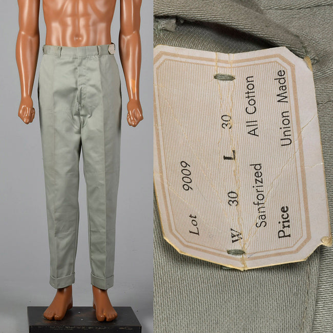 1950s Gray Sanforized Cotton Pants