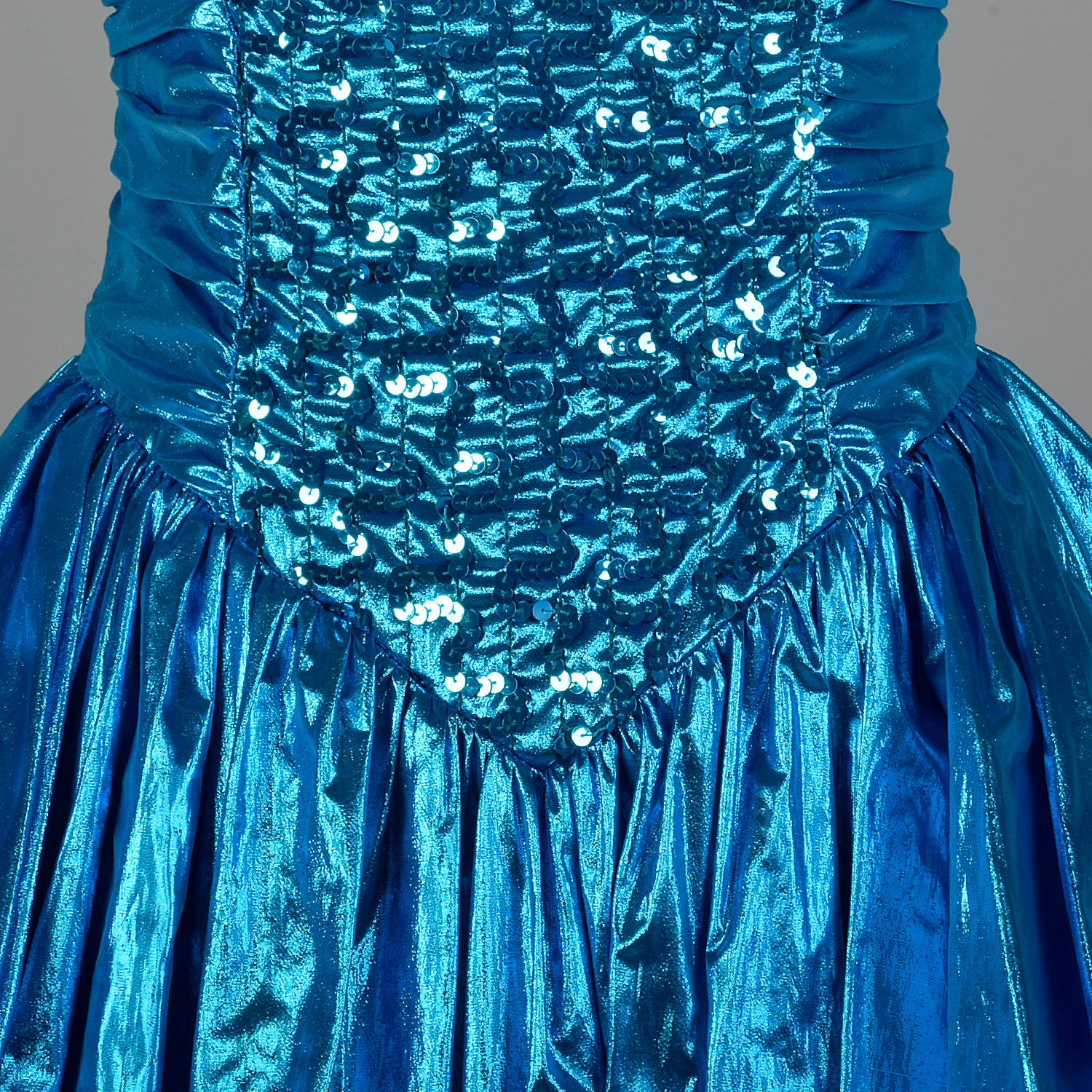 1980s Electric Blue Lame Prom Dress Full Length Formal Evening Gown Sequin Bodice