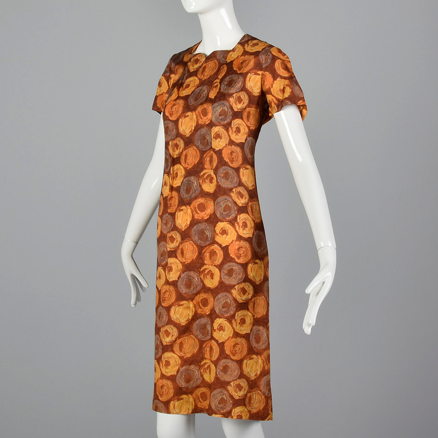1960s Brown Swirl Print Dress and Jacket Set