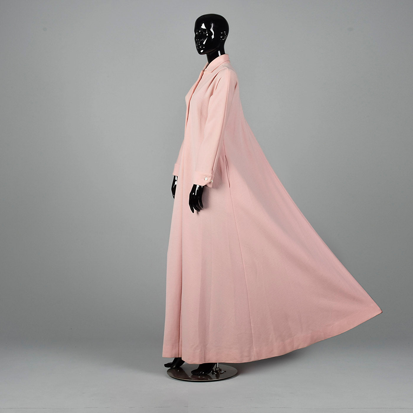 1970s Pink Knit Maxi Dress with Cape