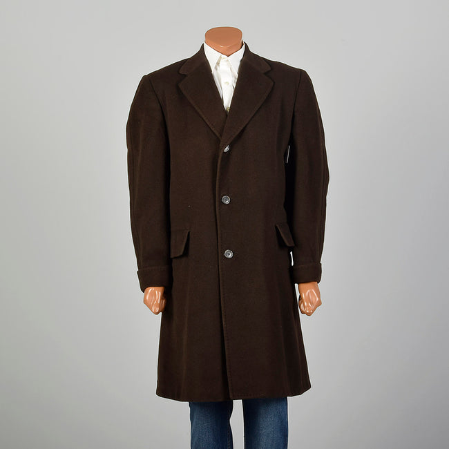XL 1960s Mens Cashmere Winter Coat Chocolate Brown