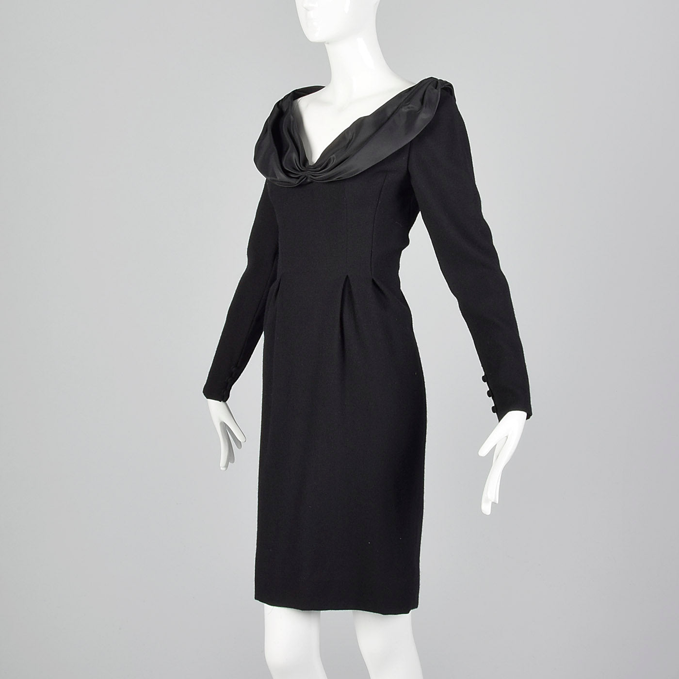 1980s Bill Blass Black Wool Pencil Dress