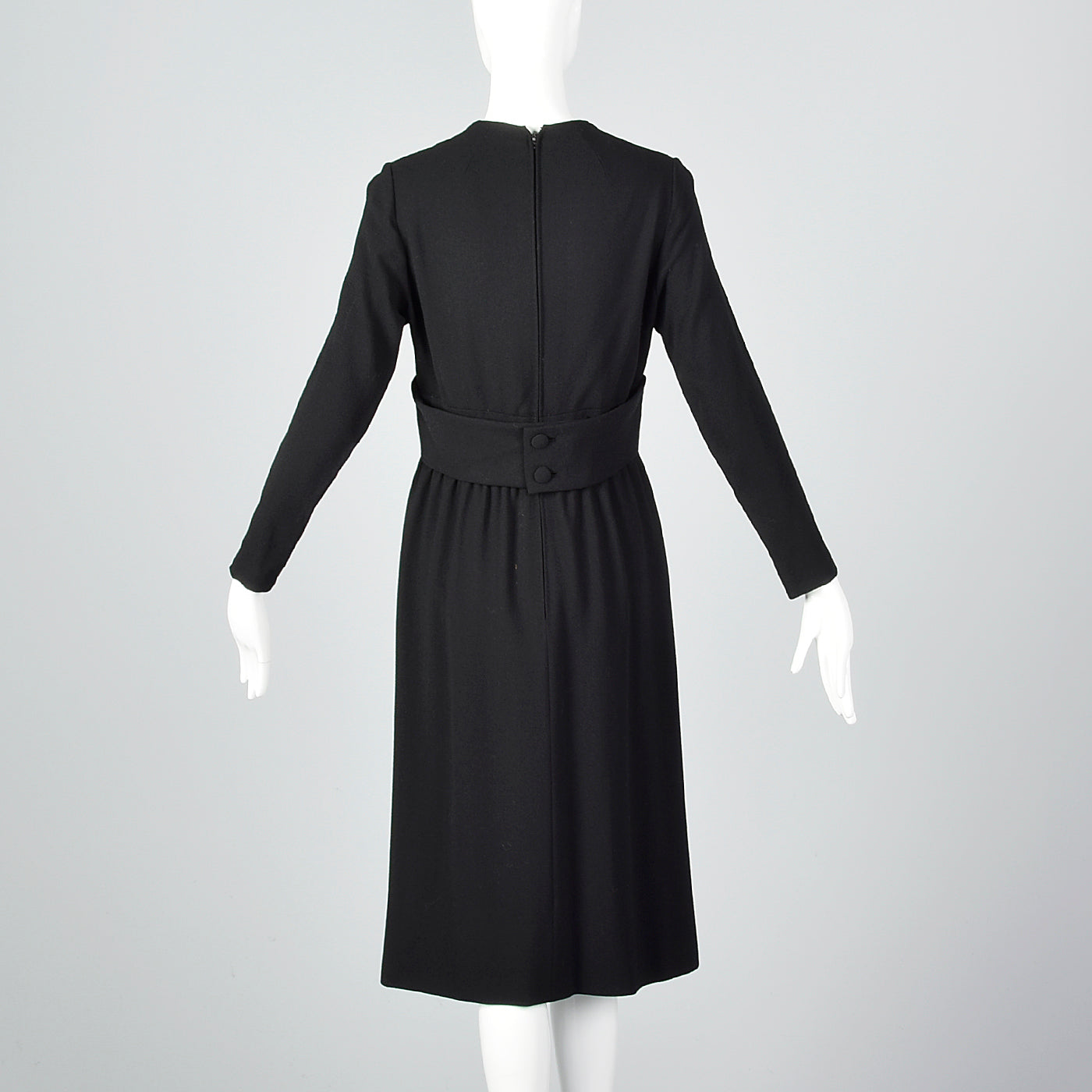1970s Norman Norell Long Sleeve Little Black Dress in Winter Weight Wool, Gustave Tassell