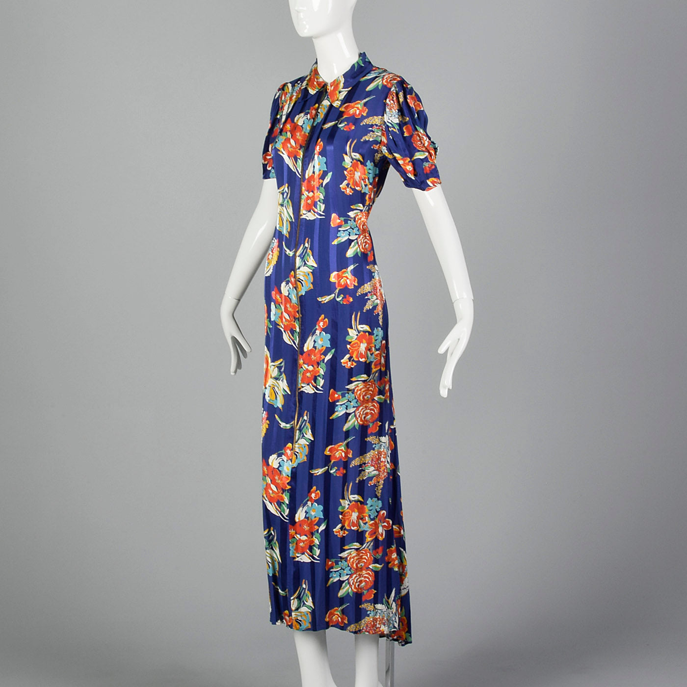 1940s Rayon Zip Front House Dress