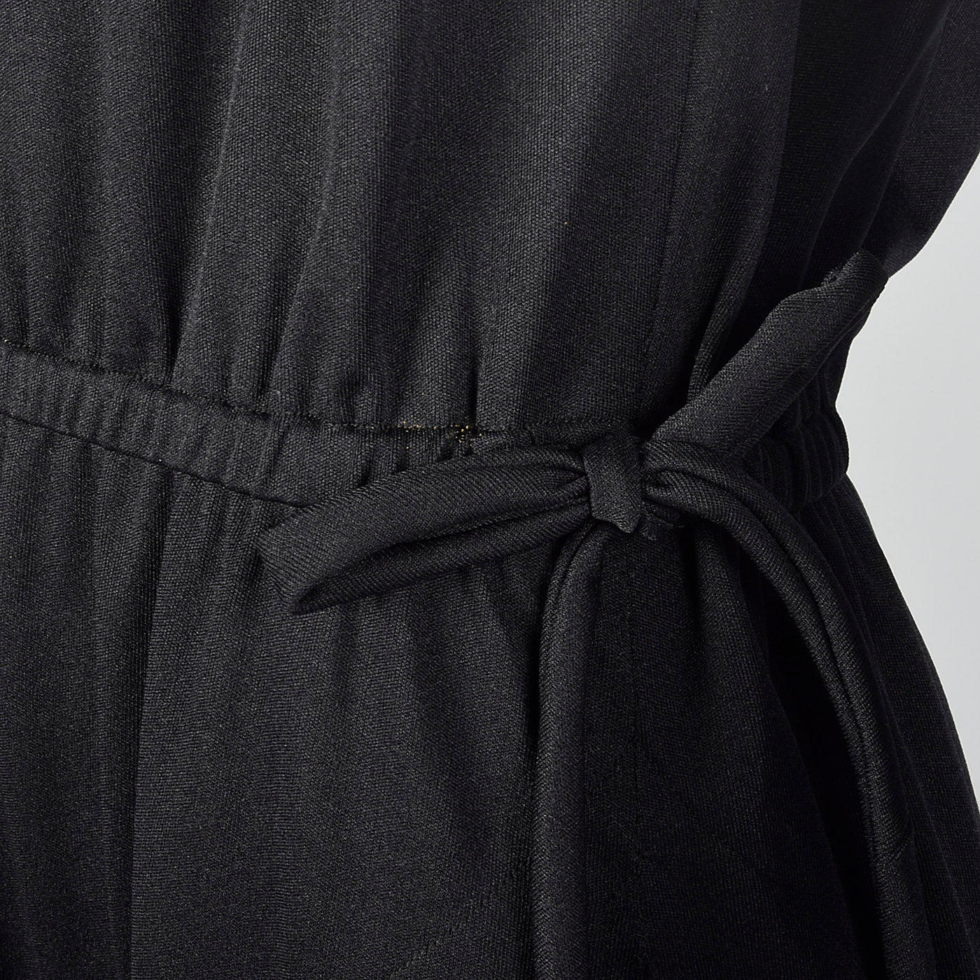 1970s Black Maxi Dress with Faux Drawstring Details