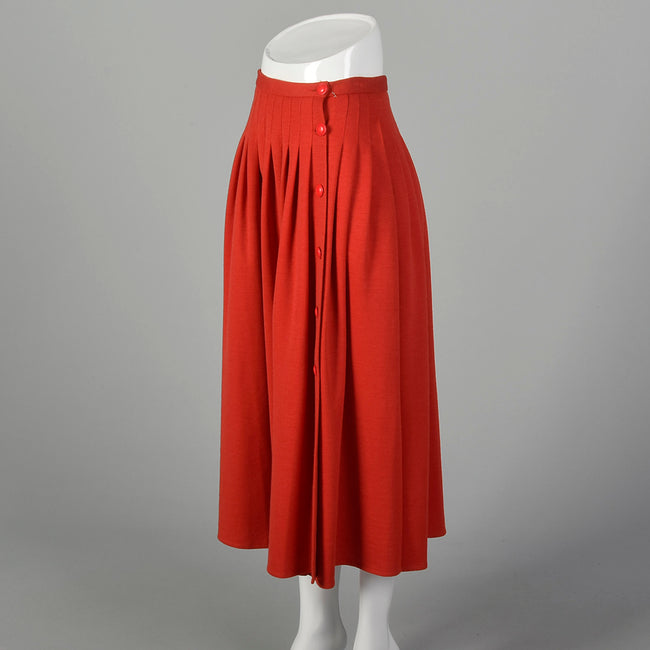 Small Sonia Rykiel 1980s Red Knit Pleated Skirt