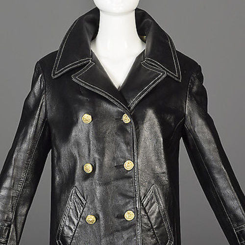 1960s Anne Klein Black Leather Jacket with Tweed Lining