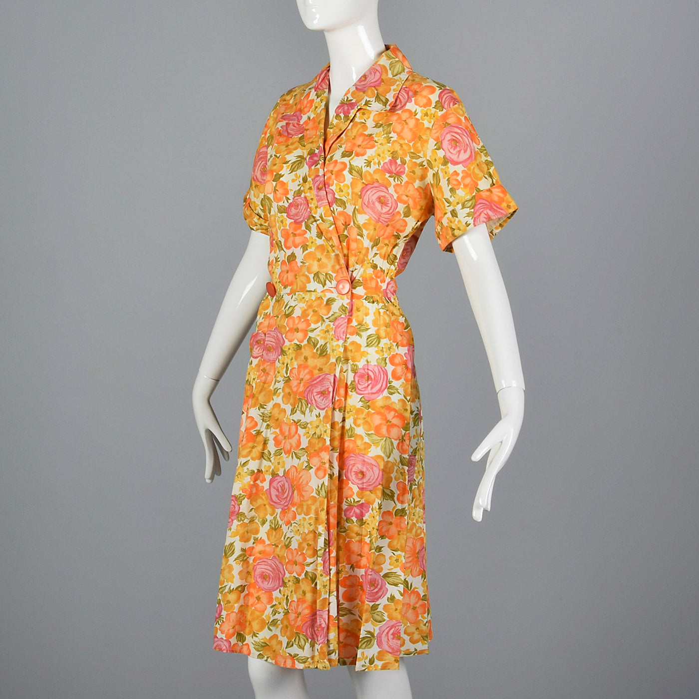 1960s Orange Floral Cotton Wrap Dress