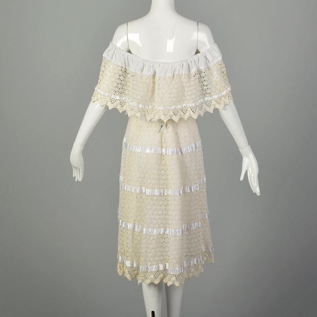 1970s Large Summer White Lace Off Shoulder Boho Dress