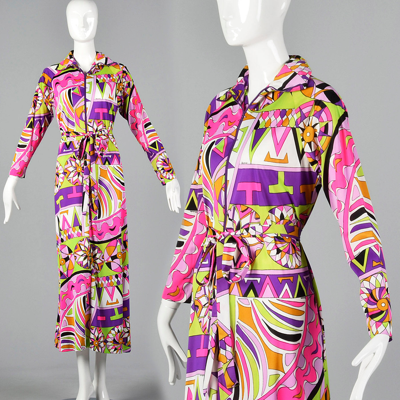 1970s Saks Fifth Avenue Nylon Lounge Dress with Zip Front
