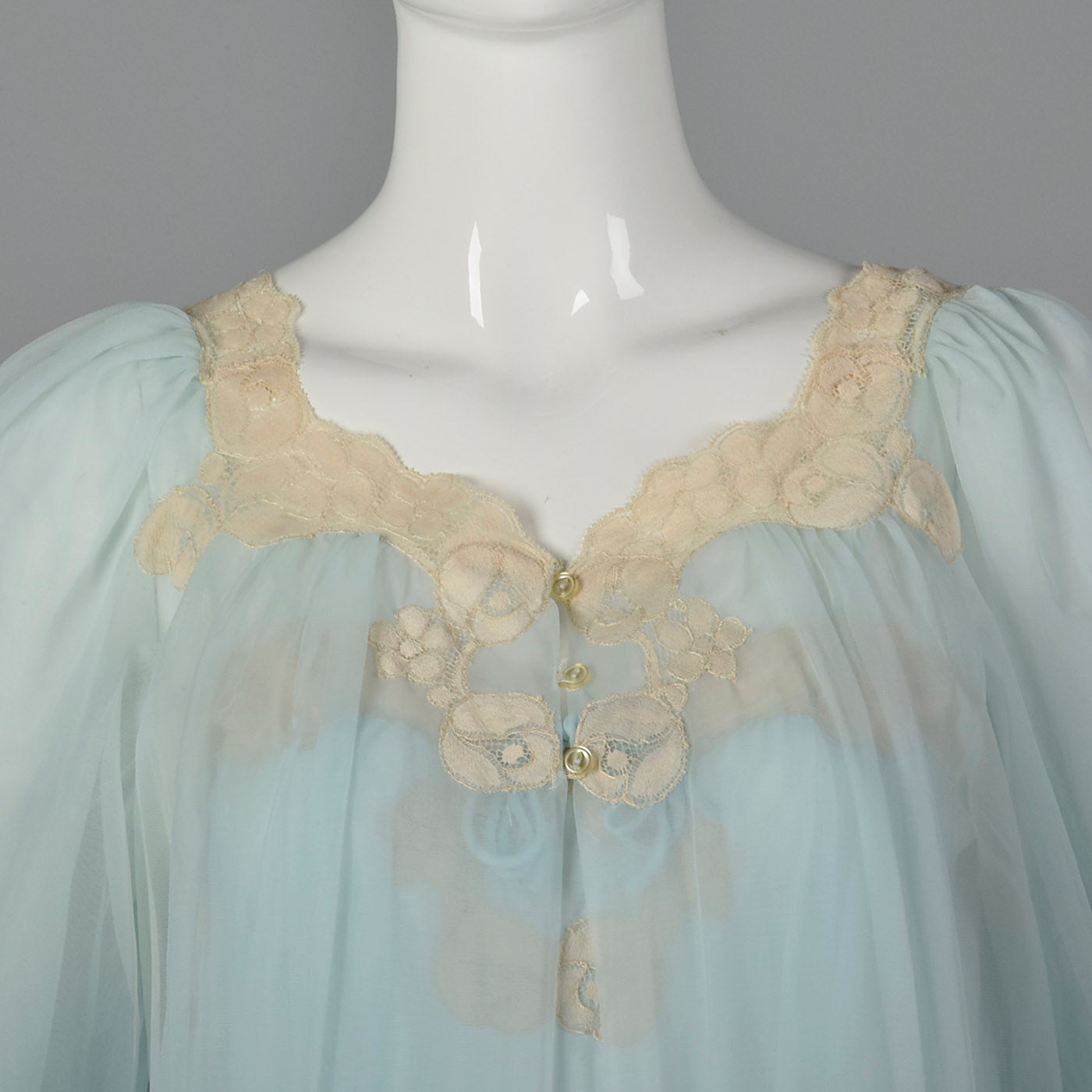 1950s Blue Nightgown and Peignoir Set