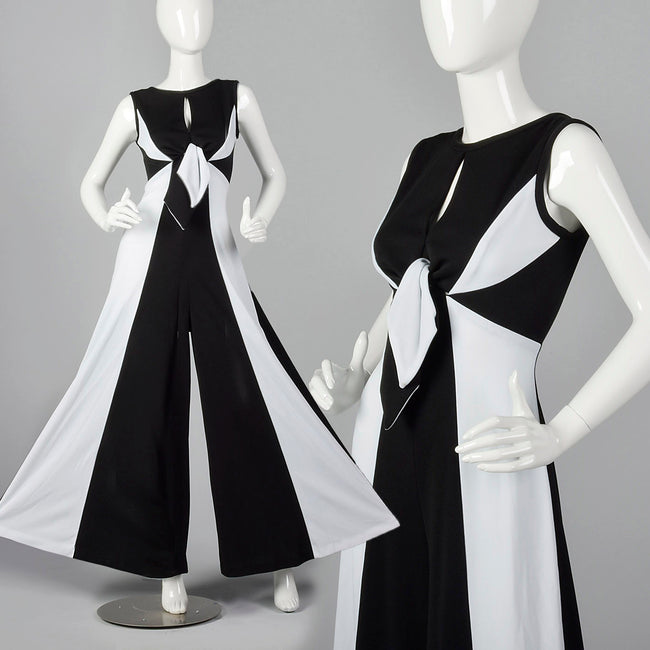 1970s White and Black Palazzo Jumpsuit