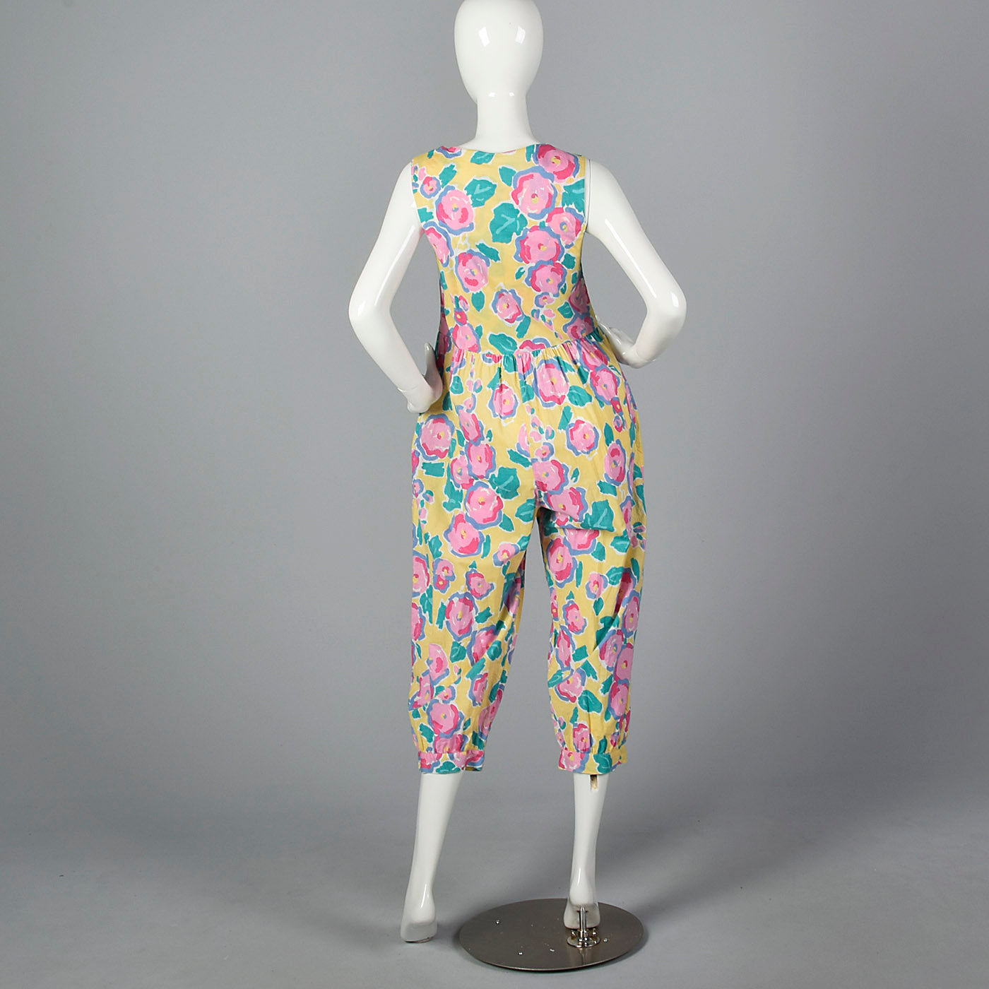 1980s Yellow Jumpsuit with a Bright Floral Print