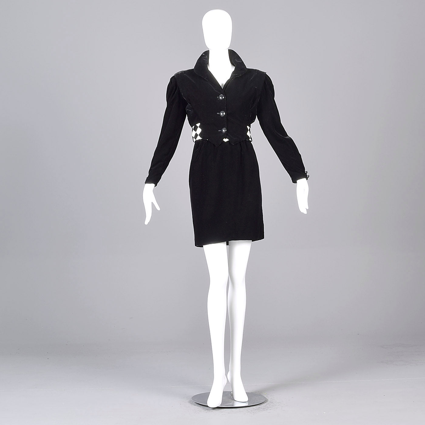 1980s Victor Costa Black Velvet Cocktail Dress with Bolero Jacket