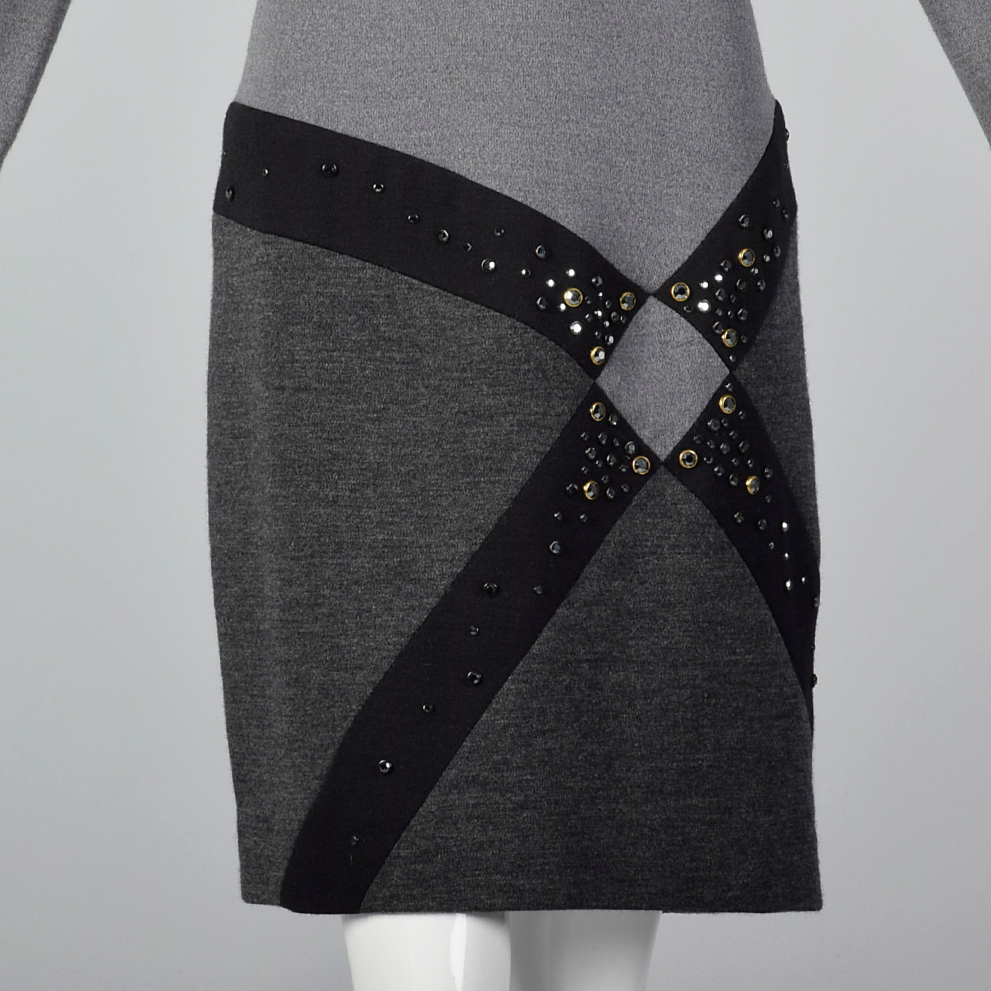 1980s Bob Mackie Gray Knit Dress with Asymmetric Rhinestone Hip