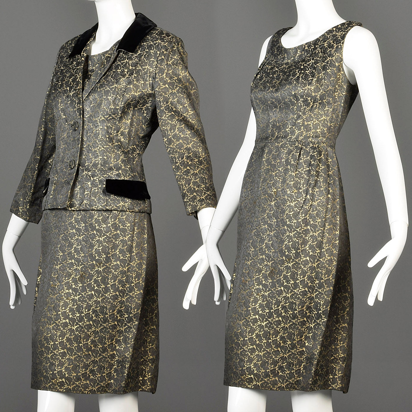 1960s Gold Brocade Dress with Matching Jacket and Velvet Detail