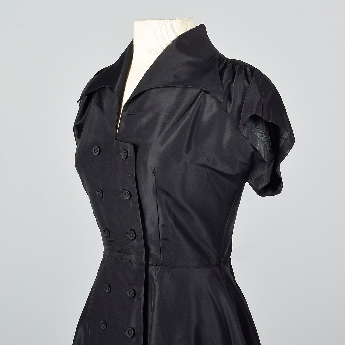 1950s Black Taffeta Fit and Flare Top