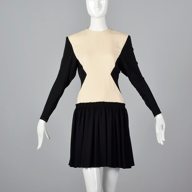 1980s Galanos Drop Waist Two Tone Hourglass Dress
