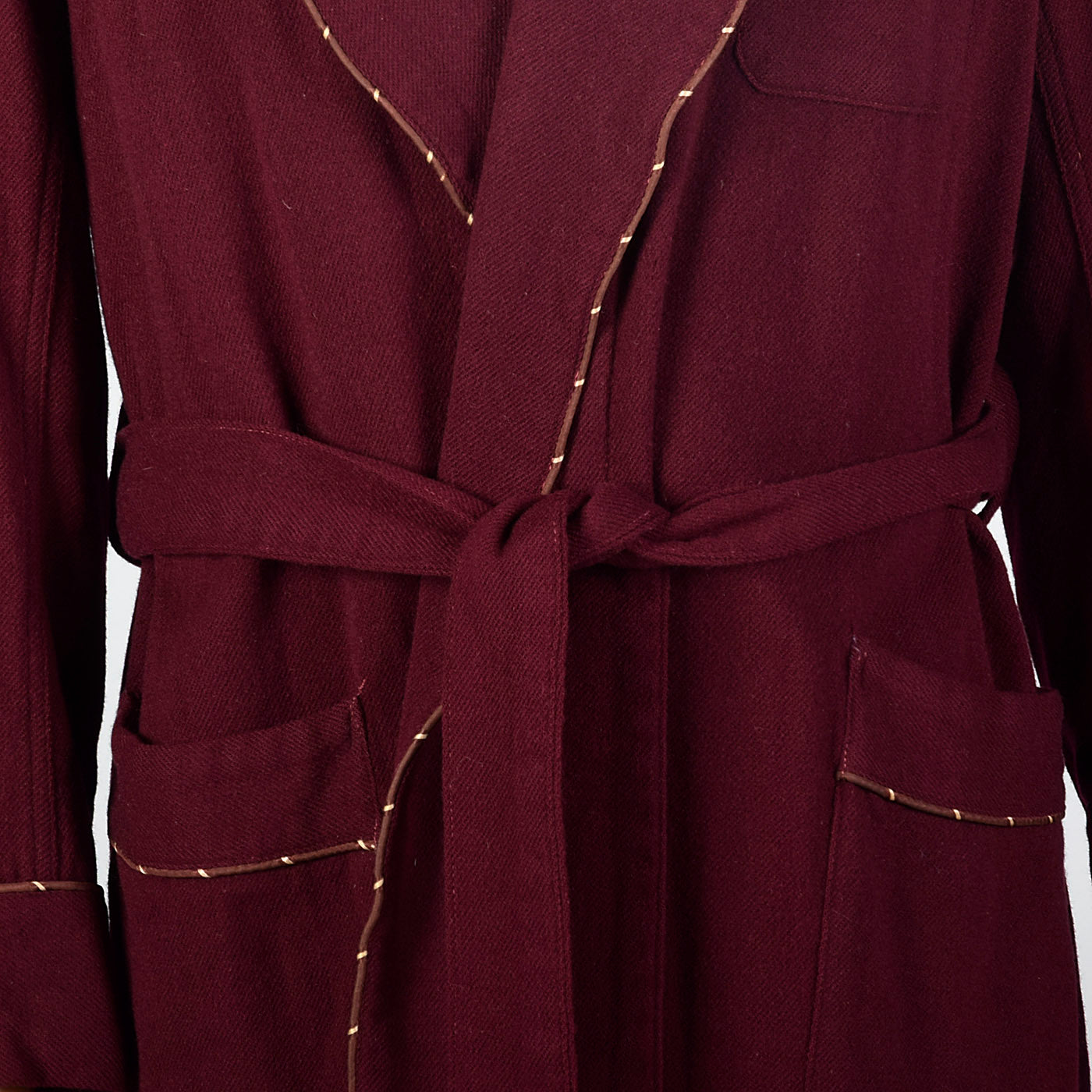 1960s Mens Burgundy Wool Robe with Shawl Collar