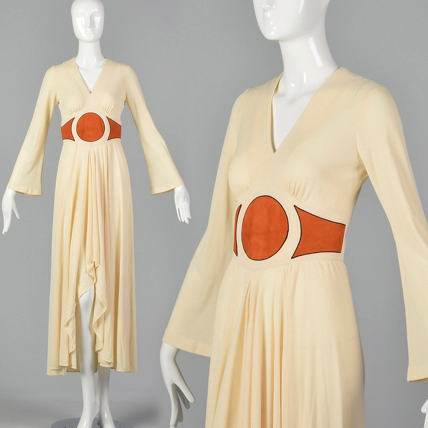 1970s Asymmetric Cream Dress with Suede Applique