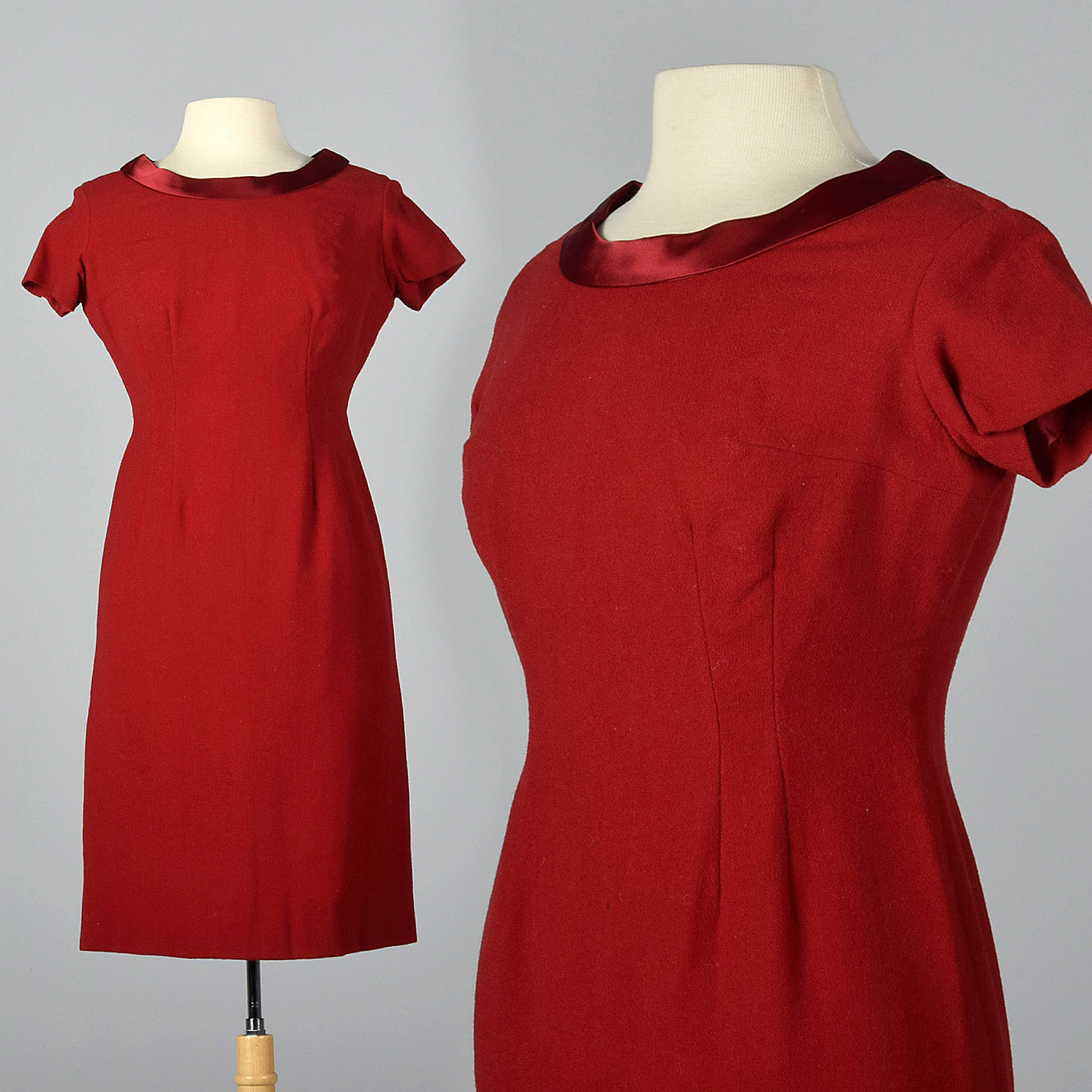 1950s Red Wool Dress with Satin Collar