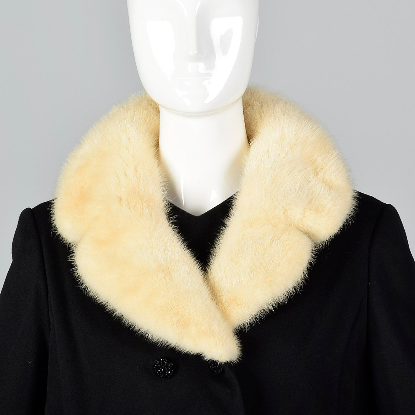 1960s Wool Shift Dress with Mink Fur Lapel Jacket