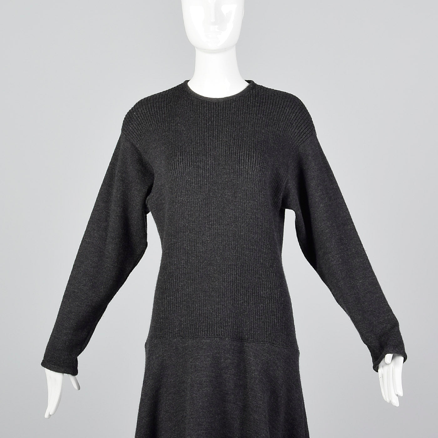 1970s Lilli Ann I. Magnin Gray Sweater Dress