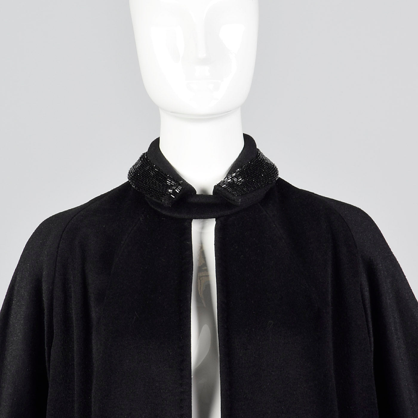 1950s Black Wool Swing Coat with Beaded Collar
