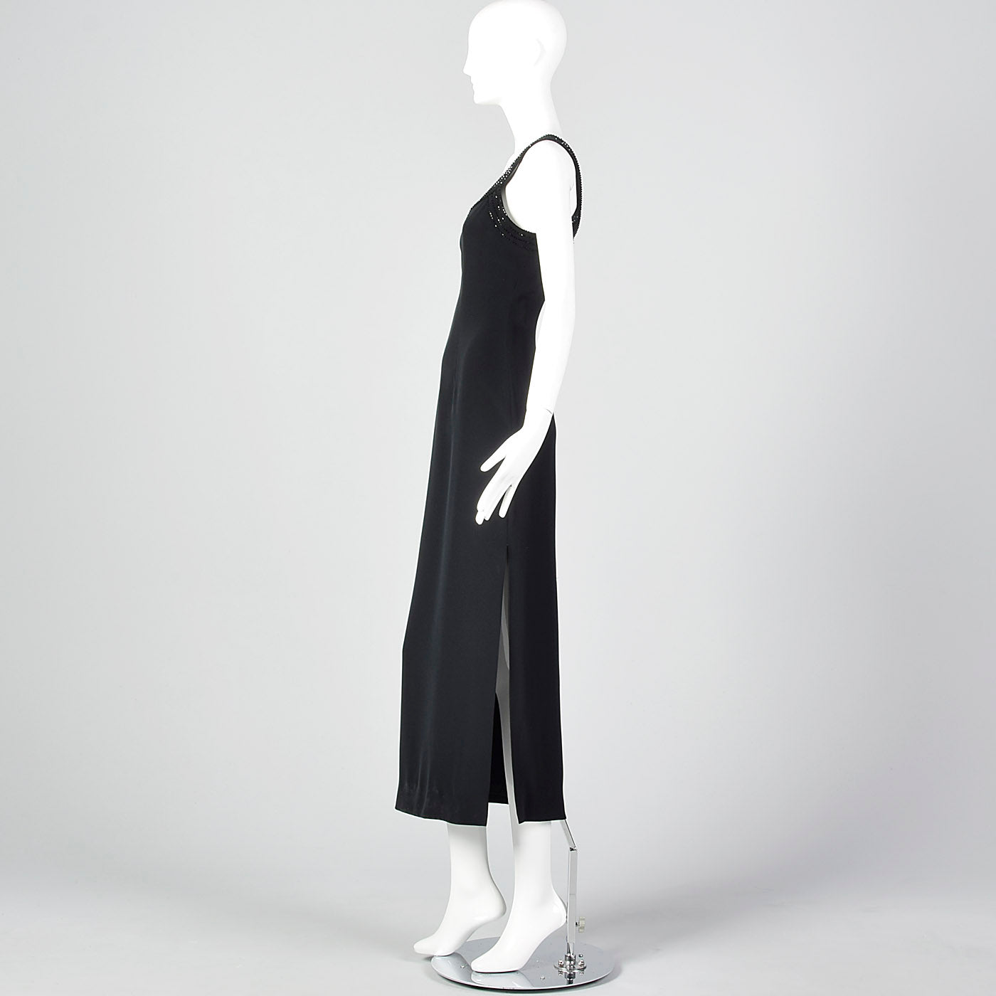 1990s Oleg Cassini Black Evening Dress