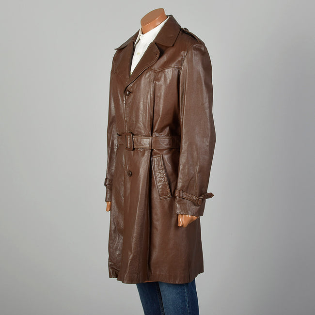 Medium-Large 1970s Brown Leather Trench