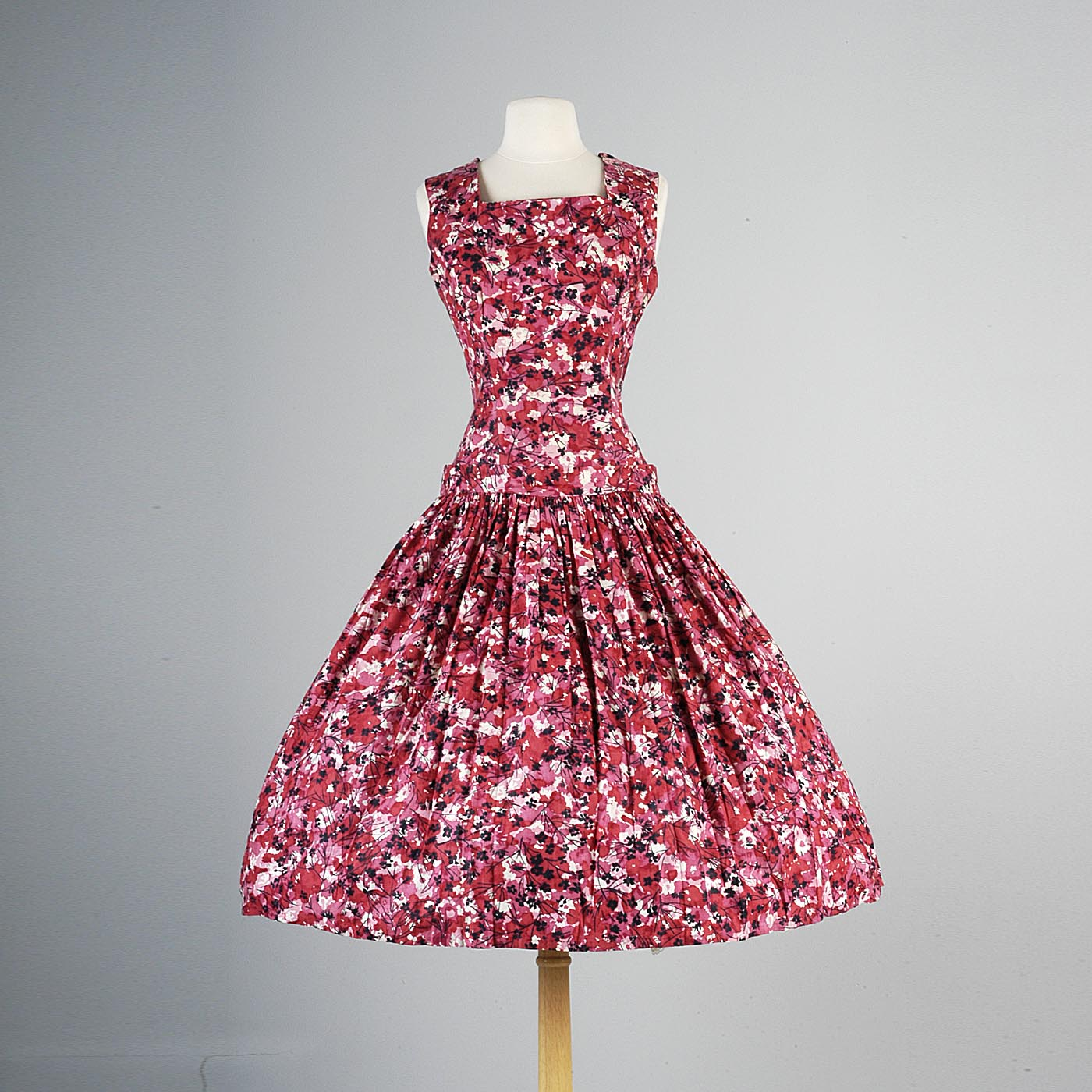 1950s Red and Pink Floral Dress with Dropped Waist