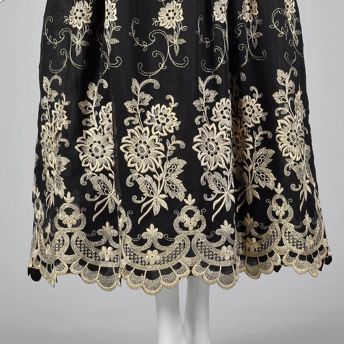 1980s Mr. Blackwell Evening Dress with Gold Embroidery