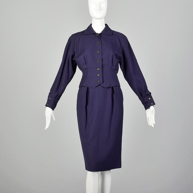 XS Guy Laroche 1980s Plumb Purple Skirt Suit