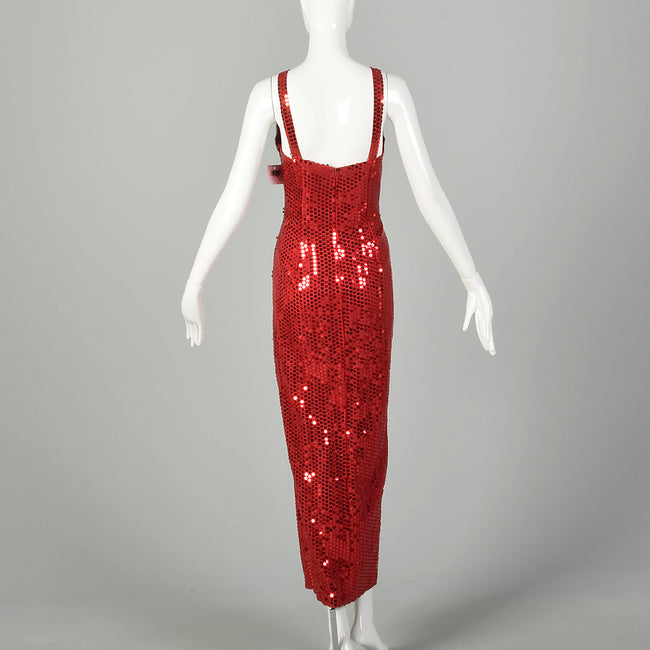 Medium 1990s Red Evening Dress Beaded Sleeveless Sequin Maxi