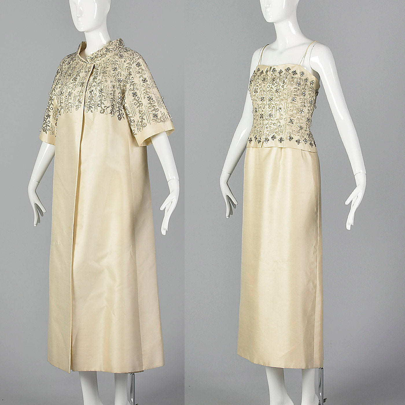 1960s Long Beaded Wedding Dress with Formal Matching Opera Coat