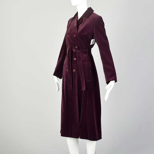 XS 1970s Coat Burgundy Plum Velvet Double Breasted Winter Belted Trench Coat